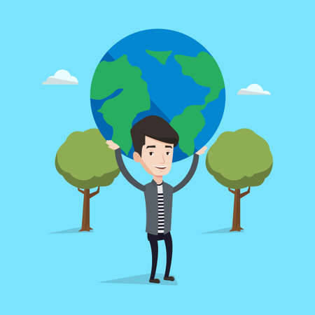 Young businessman holding a big Earth globe over his head on a blue background with trees. Concept of global business. Vector flat design illustration. Square layout. Çizim