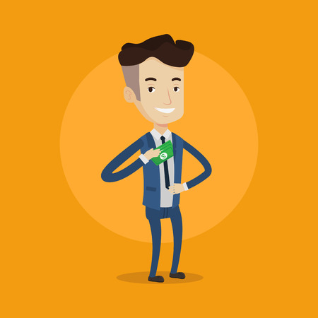 Young businessman putting money in his pocket. Businessman hiding money in jacket pocket. Bribing, corruption and fraud concept. Vector flat design illustration. Square layout. Illustration