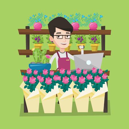Jeune fleuriste souriant utilisant téléphone et ordinateur portable pour prendre la commande. fleuriste bienvenus debout derrière le comptoir au magasin de fleurs. Homme travaillant dans la boutique de fleurs. Vector design plat illustration. layout Square.