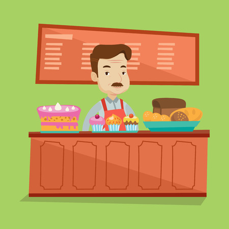 sweetshop: An adult bakery worker offering different pastry. A bakery worker standing behind the counter with cakes at the bakery. Man working at sweet-shop. Vector flat design illustration. Square layout.