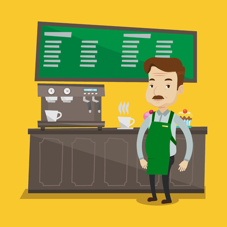barista: An adult barista sanding in front of coffee machine. Barista at coffee shop. Barista making a cup of coffee. Vector flat design illustration. Square layout. Illustration