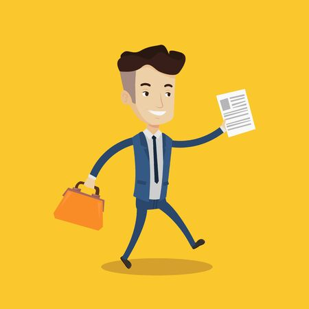 Young happy businessman running with a briefcase and a document in hands. Concept of success in business. Vector flat design illustration. Square layout. Illustration