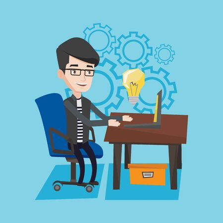 businessman working at his computer: Young businessman working on his laptop in office and a big idea bulb above the computer. Man having a business idea. Successful business idea concept. Vector flat design illustration. Square layout. Illustration