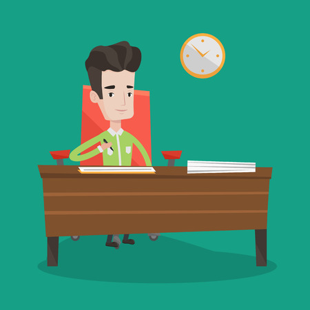 signing papers: Businessman signing business documents in office. Man is about to sign a business agrement. Confirmation of transaction by signing of business contract. Vector flat design illustration. Square layout.