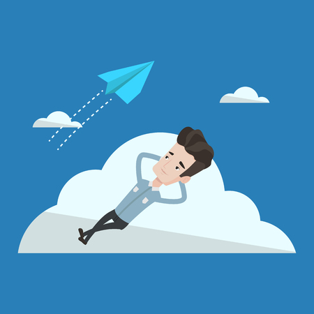 flying paper: Young businessman lying on a cloud and looking at flying paper plane. Business man relaxing on a cloud. Vector flat design illustration. Square layout.