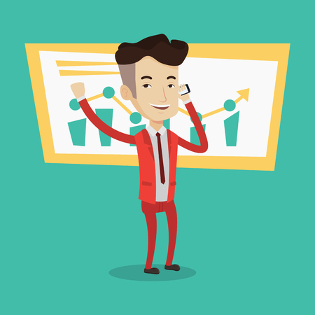 good news: Businessman raising his arm while getting good news on mobile phone near the growth chart. Concept of business stock exchange trading, business success. Vector flat design illustration. Square layout. Illustration
