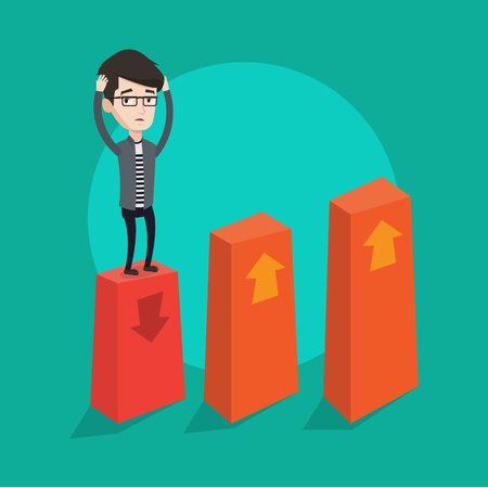 A frightened bankrupt clutching his head. Young bankrupt standing on chart going down. Concept of business bankruptcy. Vector flat design illustration. Square layout. Illustration