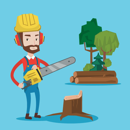 Hipster woodcutter with the beard holding chainsaw. Woodcutter in workwear, hard hat and headphones at the forest near stump. Lumberjack chopping wood. Vector flat design illustration. Square layout. Stock Illustratie