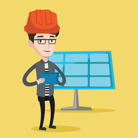 solar power: Engineer working on digital tablet at solar power plant. Worker with tablet computer at solar power plant. Worker in hard hat checking solar panel setup. Vector flat design illustration. Square layout