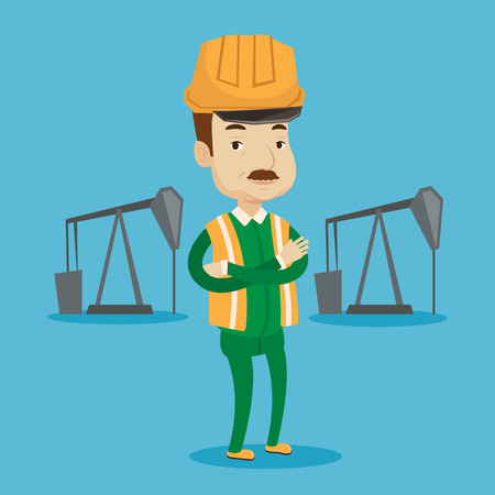 oil worker: An adult oil worker in uniform and helmet. Cnfident oil worker standing with crossed arms. An oil worker standing on a background of pump jack. Vector flat design illustration. Square layout.