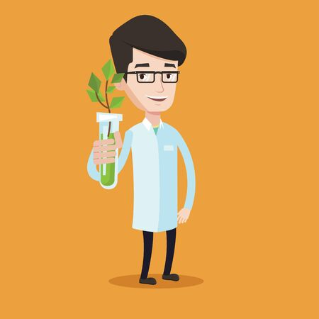 medical assistant: Scientist holding test tube with young plant. Man analyzing plant in test tube. Laboratory assistant in medical gown holding test tube with sprout. Vector flat design illustration. Square layout.