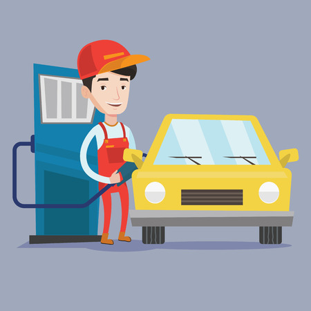 filling station: A friendly worker filling up fuel into the car. Smiling worker in workwear at the gas station. Gas station worker refueling a car. Vector flat design illustration. Square layout.