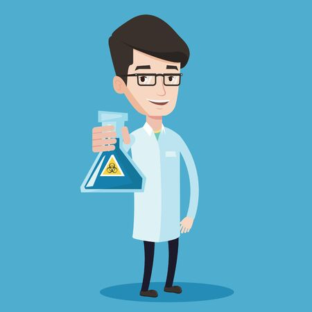 Young scientist holding a flask with biohazard sign. Smiling laboratory assistant in medical gown showing a flask with some liquid in it. Vector flat design illustration. Square layout.
