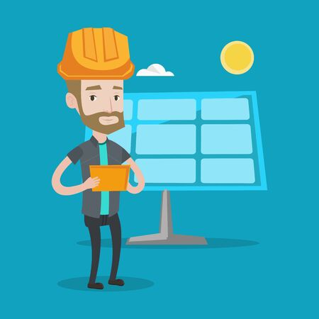 young worker: A hipster engineer with the beard working on digital tablet at solar power plant. Young worker in hard hat checking solar panel setup. Vector flat design illustration. Square layout