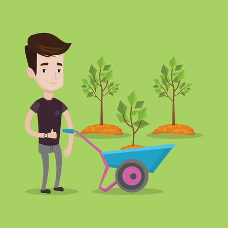 man pushing: Young man pushing wheelbarrow with plant and dirt in the park. A gardener with wheelbarrow on a background of newly planted trees. Vector flat design illustration. Square layout.