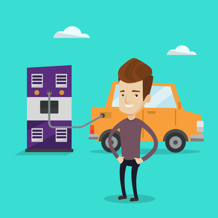 electric power station: Young happy man charging electric car at charging station. Cheerful man standing near power supply for electric car charging. Vector flat design illustration. Square layout. Illustration