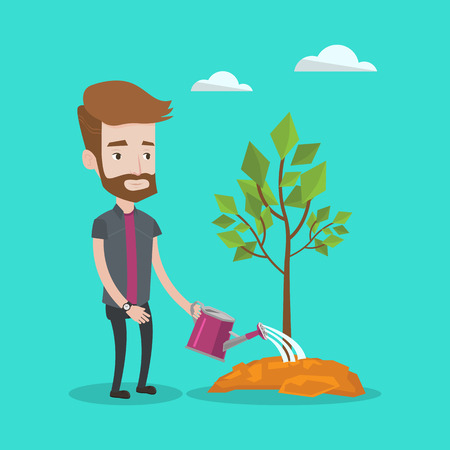 A hipster man with the beard watering tree. Young gardener with watering can. Concept of environmental protection. Vector flat design illustration. Square layout.