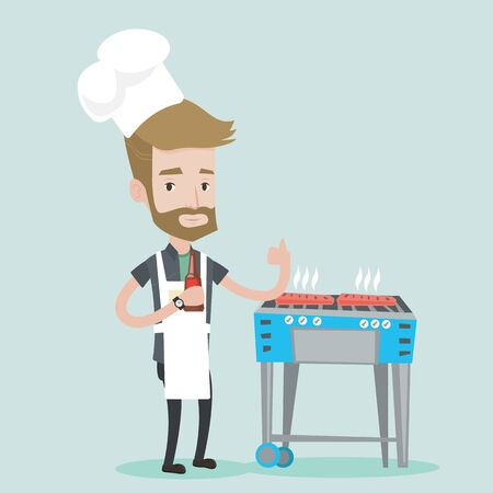 gas barbecue: Young man with bottle in hand cooking meat on gas barbecue grill and giving thumb up. A hipster man with the beard cooking meat on barbecue grill. Vector flat design illustration. Square layout.