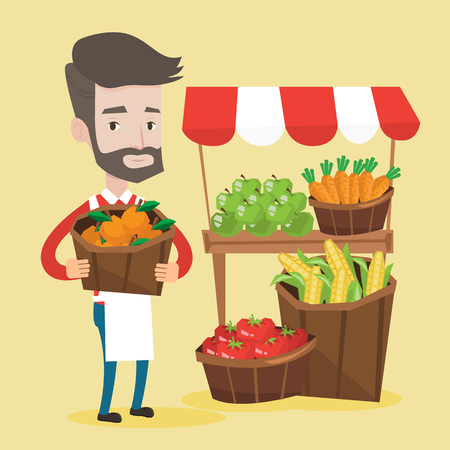 greengrocer: Street seller with stall with fruits and vegetables. Greengrocer standing near market stall. Hipster seller with the beard holding basket with fruits. Vector flat design illustration. Square layout.