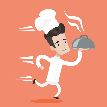 white uniform: Chef in a cap and white uniform running. Young cheerful waiter holding a cloche. Smiling waiter fast running with a cloche. Vector flat design illustration. Square layout.