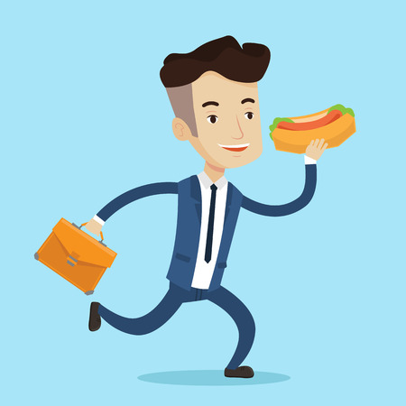 Smiling businessman in hurry eating hot dog. Happy businessman with briefcase eating on the run. Young man in business suit running with fast food. Vector flat design illustration. Square layout. Illustration