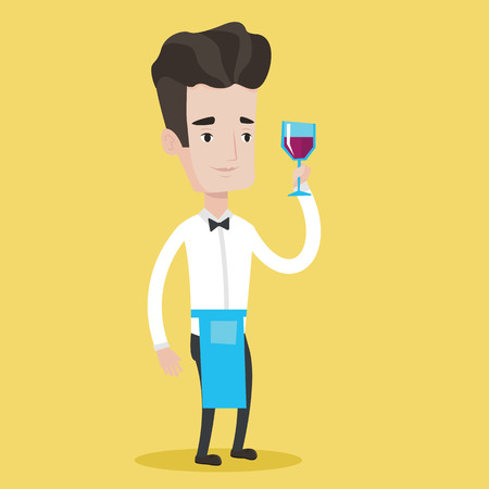 bartender: Young bartender holding a glass of wine in hand. Bartender at work. Waiter looking at glass of red wine. Smiling bartender examining wine in glass. Vector flat design illustration. Square layout. Illustration