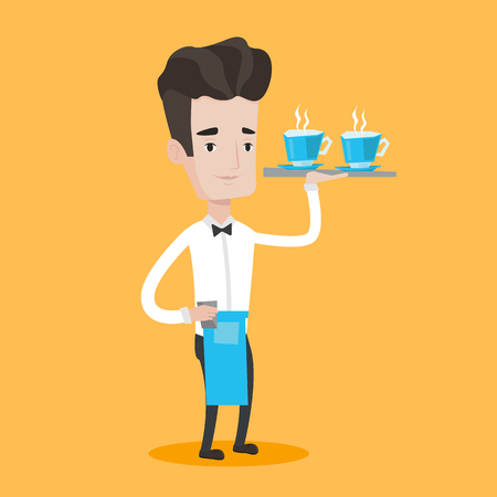 waiter tray: Young waiter holding a tray with cups of tea or coffee. Friendly waiter standing with tray with cups of hot flavoured beverages. Vector flat design illustration. Square layout.