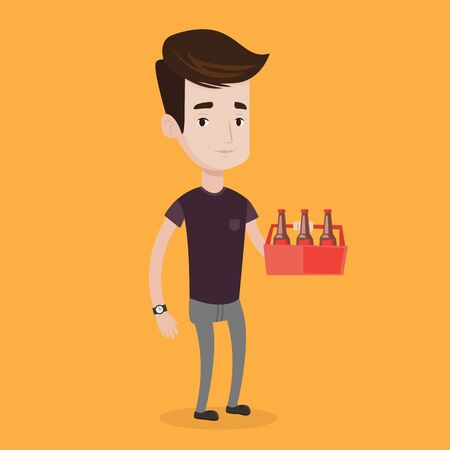 six pack: Young happy man holding pack of beer. Full length of cheerful man carrying a six pack of beer. Vector flat design illustration. Square layout.