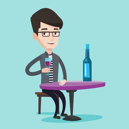 Junge lächelnde am Tisch mit Glas und eine Flasche Wein Mann sitzt. Glücklicher Mann Wein im Restaurant zu trinken. Fröhlich Mann einen Drink an Wein-Bar genießen. Vector flache Design-Illustration. Platz Layout.
