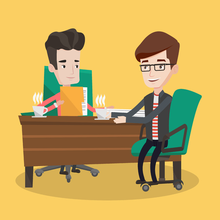 two men talking: Two businessmen with cups of coffee talking in the office. Businessman interviewing male candidate for a position. Two men during business meeting. Vector flat design illustration. Square layout.