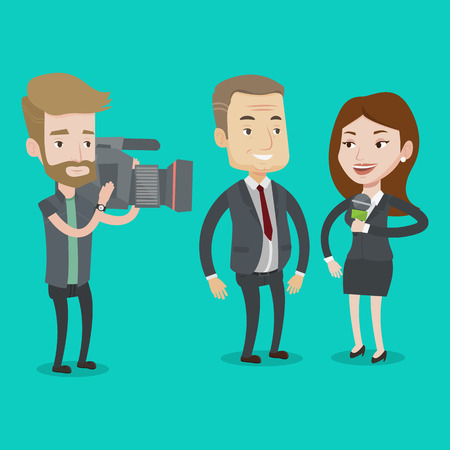 Professional female reporter with microphone presenting the news. Hipster operator filming interview. Journalist making interview with businessman. Vector flat design illustration. Square layout.