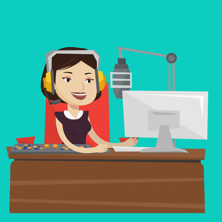 mixing console: Young female dj working in front of microphone, computer and mixing console on the radio. Cheerful news presenter in headset working on a radio station. Vector flat design illustration. Square layout. Illustration