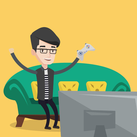 playing video game: Happy gamer playing video game. An excited young man with console in hands playing video game at home. Man celebrating his victory in video game. Vector flat design illustration. Square layout.
