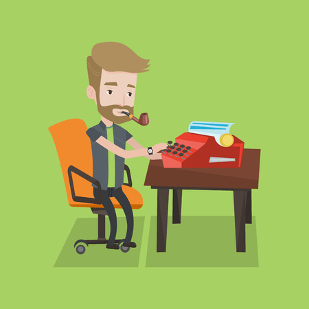 article: Journalist writing an article on a vintage typewriter. Journalist working on retro typewriter. Hipster journalist smoking pipe during writing an article. Vector flat design illustration.Square layout.