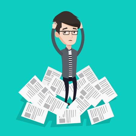 overwhelmed: Overworked man clutching head because of having a lot of work to do. Businessman surrounded by lots of papers. Businessman standing in the heap of papers. Vector flat design illustration.Square layout Illustration