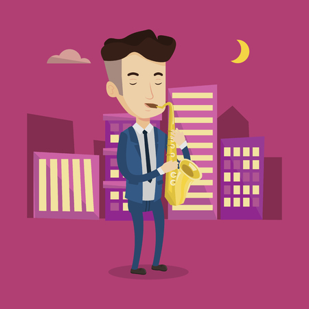 pleased: Pleased musician playing on saxophone. Man with his eyes closed playing on saxophone in the night. Musician with saxophone in the city street. Vector flat design illustration. Square layout.