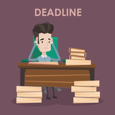 stressed businessman: Stressed businessman sitting at the table with stacks of papers. Overworked businessman clutching his head. Businessman having problem with deadline. Vector flat design illustration. Square layout.