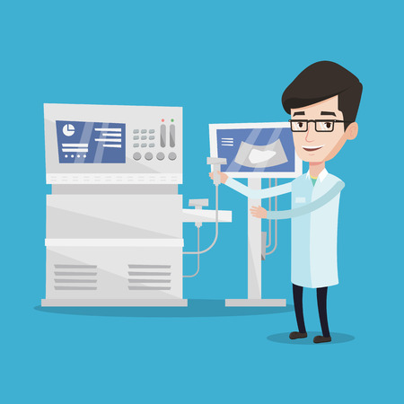 Doctor with ultrasound scanner in hand. Operator of ultrasound scanning machine analyzing liver of patient. Doctor working on modern ultrasound equipment. Vector flat design illustration.Square layout Illustration