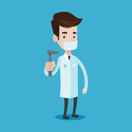 otolaryngologist: Ear nose throat doctor standing in the medical office. Young doctor in medical gown and mask with tools used for examination of ear, nose, throat. Vector flat design illustration. Square layout.