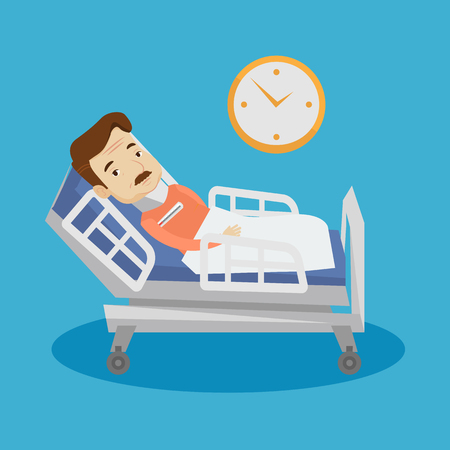 brace: An adult man wearing cervical collar and suffering from neck pain. Patient with injured neck lying in bed. Man with neck brace. Vector flat design illustration. Square layout.