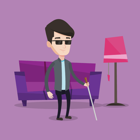 blind man: A blind man standing with walking stick at home. Young man in dark glasses with cane standing in the living room. Vector flat design illustration. Square layout.