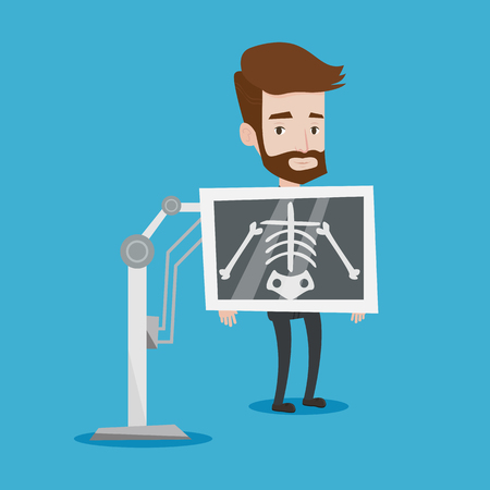 x ray equipment: Young hipster patient with the beard during chest x ray procedure. Young man with x ray screen showing his skeleton. Vector flat design illustration. Square layout.