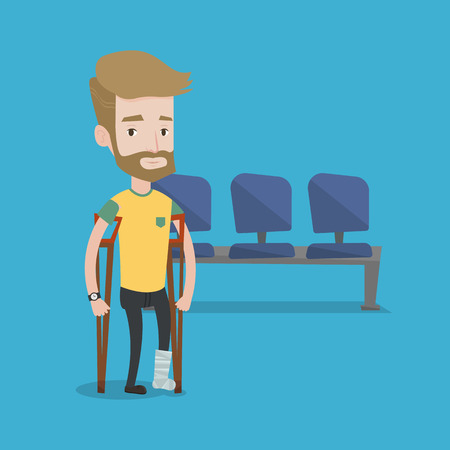 An injured hipster man with the beard with leg in plaster. Man with broken leg using crutches. Young man with fractured leg in the hospital corridor. Vector flat design illustration. Square layout. Illustration