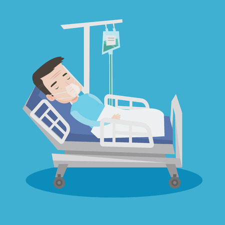 recovering: An adult man lying in hospital bed with oxygen mask. Man during medical procedure with drop counter. Patient recovering in bed in hospital. Vector flat design illustration. Square layout.