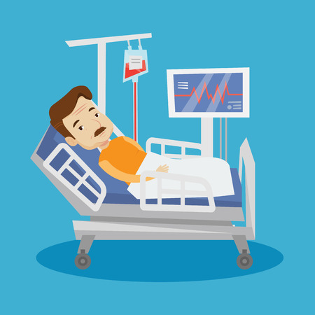 lying in bed: An adult man lying in bed in hospital. Patient resting in hospital bed with heart rate monitor. Patient during blood transfusion procedure. Vector flat design illustration. Square layout. Illustration