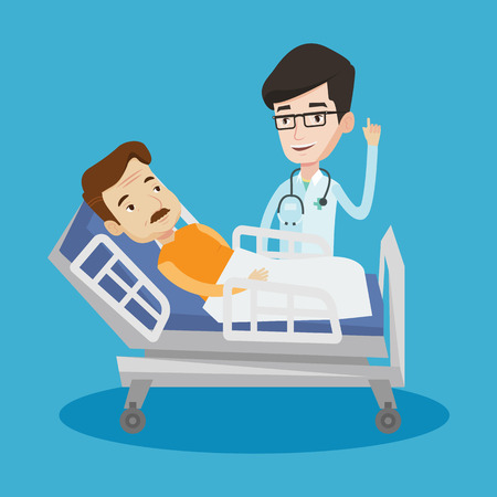 Young happy doctor with stethoscope visiting male patient at hospital. Doctor pointing finger up during consultation with patient lying in hospital bed. Vector flat design illustration. Square layout. Illustration