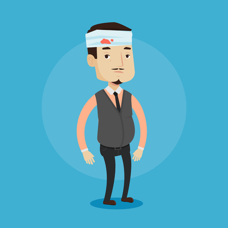 Man with bandages over his head. Sad injured man with a bandaged head. Full length of an adult wounded man. Vector flat design illustration isolated on blue background. Square layout.