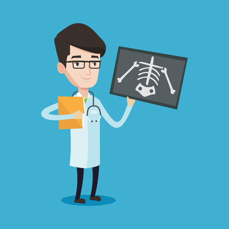 examining: Doctor examining a radiograph. Young smiling doctor looking at a chest radiograph. Doctor observing a skeleton radiograph. Vector flat design illustration isolated on blue background. Square layout. Illustration