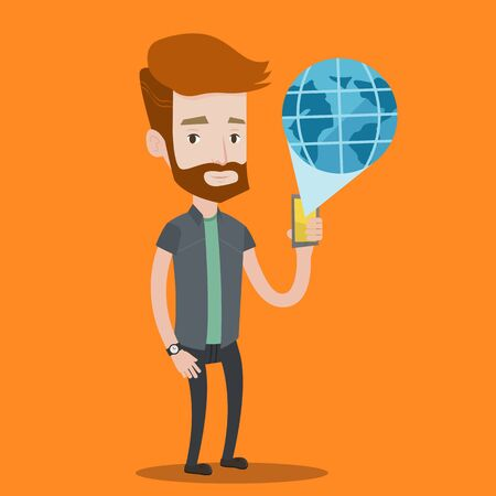 caucasians: A hipster man with the beard holding a smartphone with a model of planet earth coming out of the device. International technology communication concept. Vector flat design illustration. Square layout. Illustration