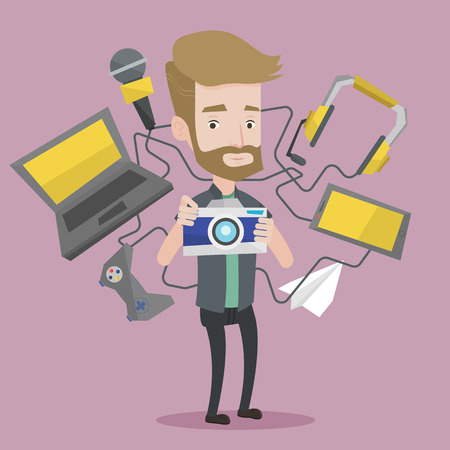 electronic: A hipster man taking photo with digital camera. Young man surrounded with gadgets. Man using many electronic gadgets. Man addicted to modern gadgets. Vector flat design illustration. Square layout.